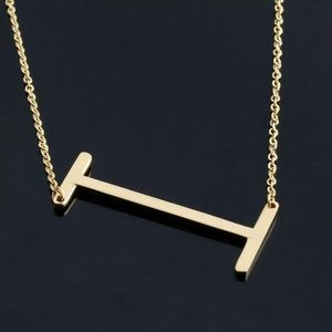 """Lucy"" Letter I Gold Single Inital Necklace"